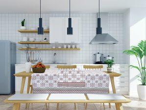 Τραπεζομάντηλο Das Home 0595 Λευκό-Μέντα-Κεραμιδί 140×140