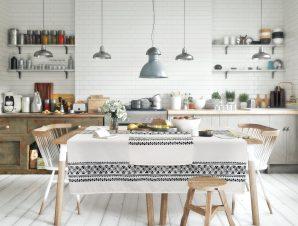 Τραπεζομάντηλο Das Home 0596 Λευκό-Μαύρο 140×180